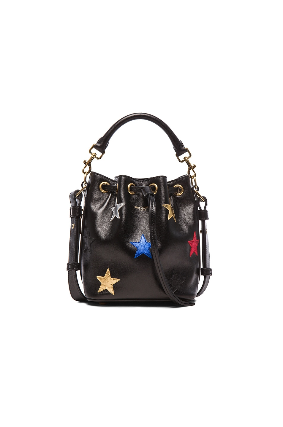 Image 1 of Saint Laurent Small Patchwork Stars Emmanuelle Bucket Bag in Multi