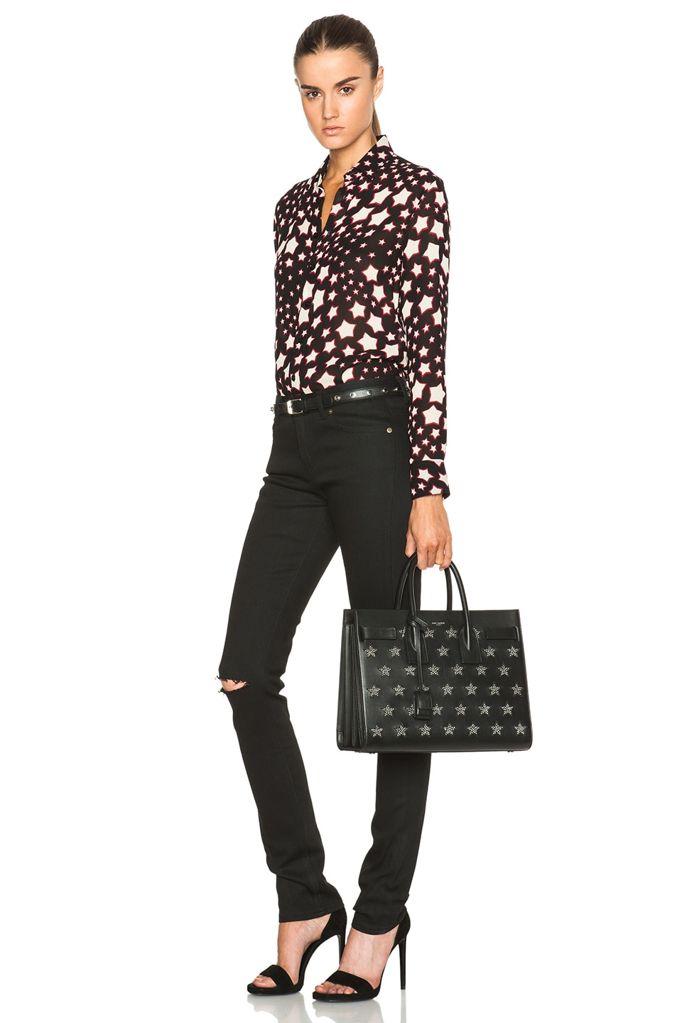 Image 2 of Saint Laurent Small Stars Sac De Jour Carryall Bag in Black