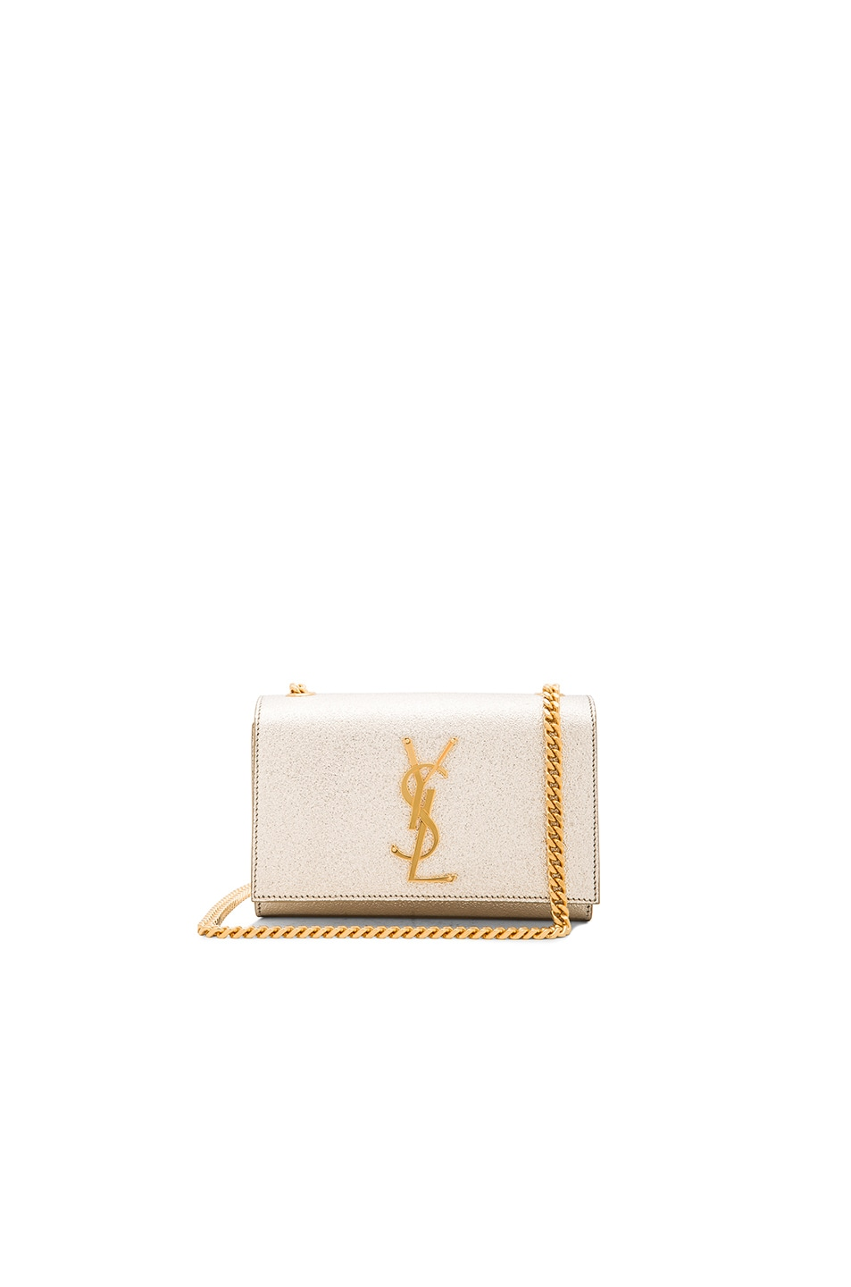 3ce4ac3c044 Image 1 of Saint Laurent Small Monogramme Chain Bag in Pale Gold