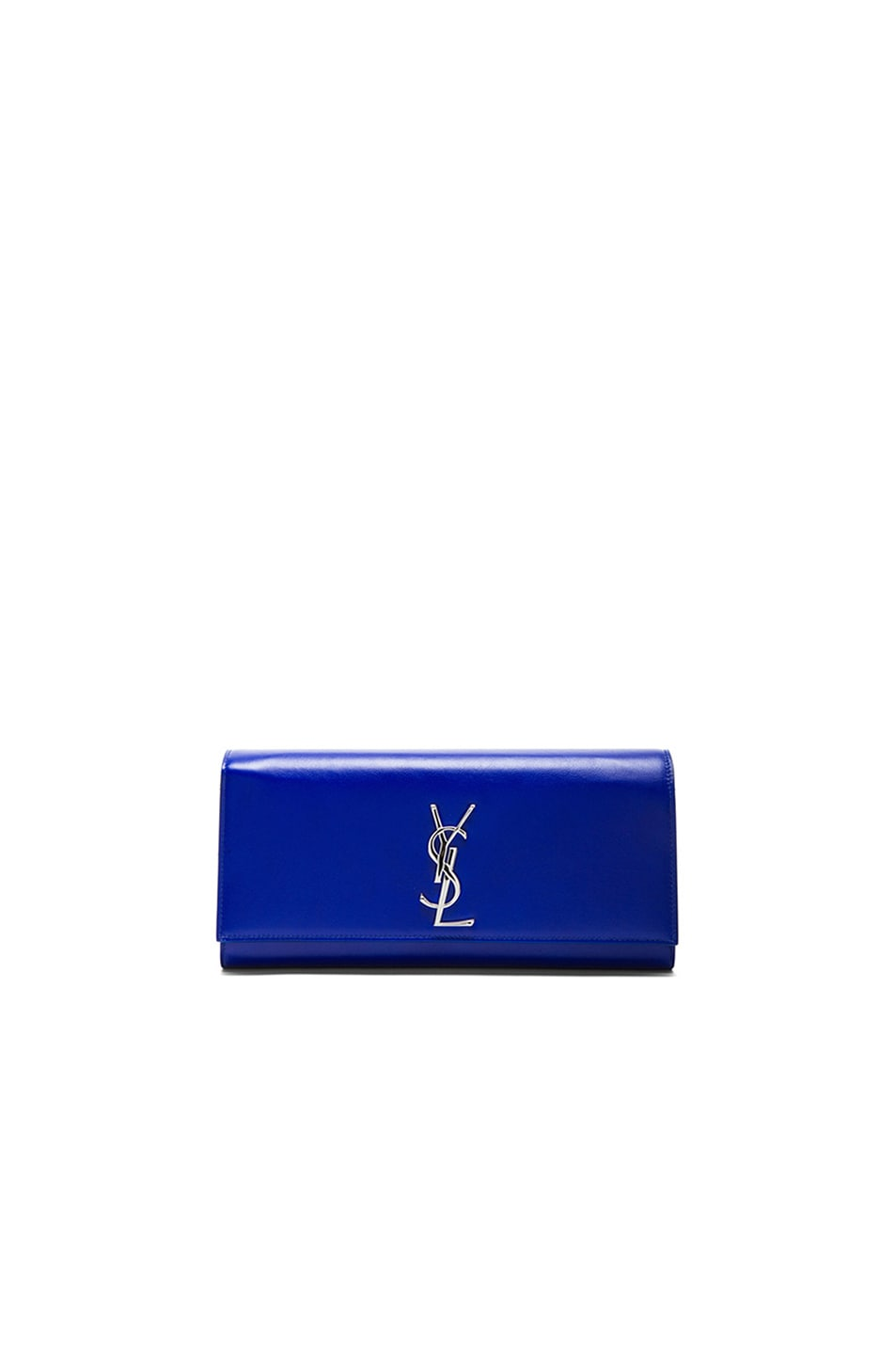 Image 1 of Saint Laurent Monogramme Clutch in Neon Blue