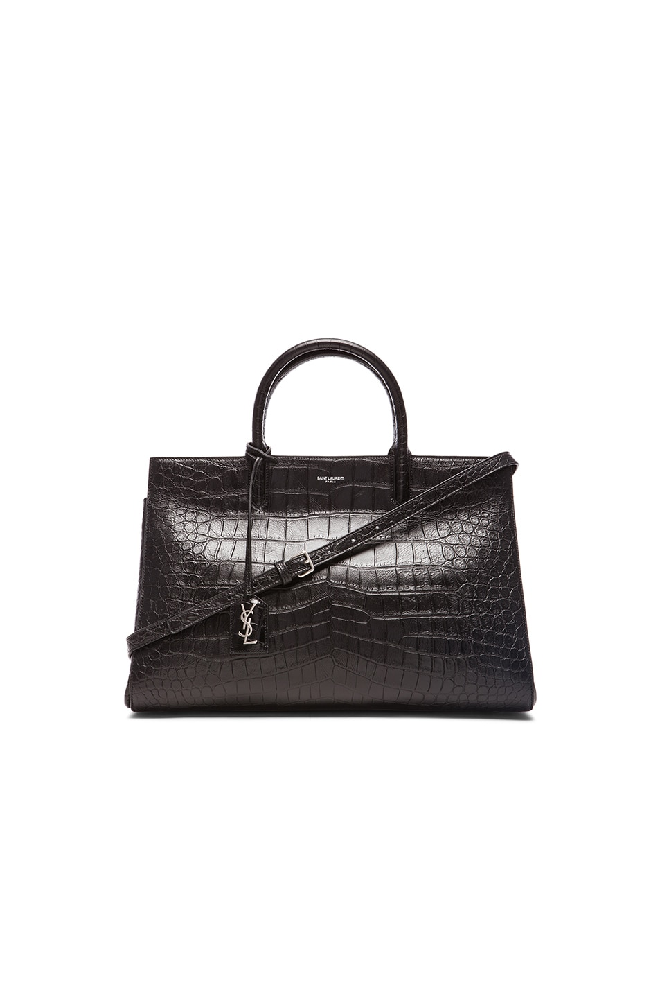 3a6482cba611 Image 1 of Saint Laurent Medium Monogram Croc Embossed Cabas Bag in Black