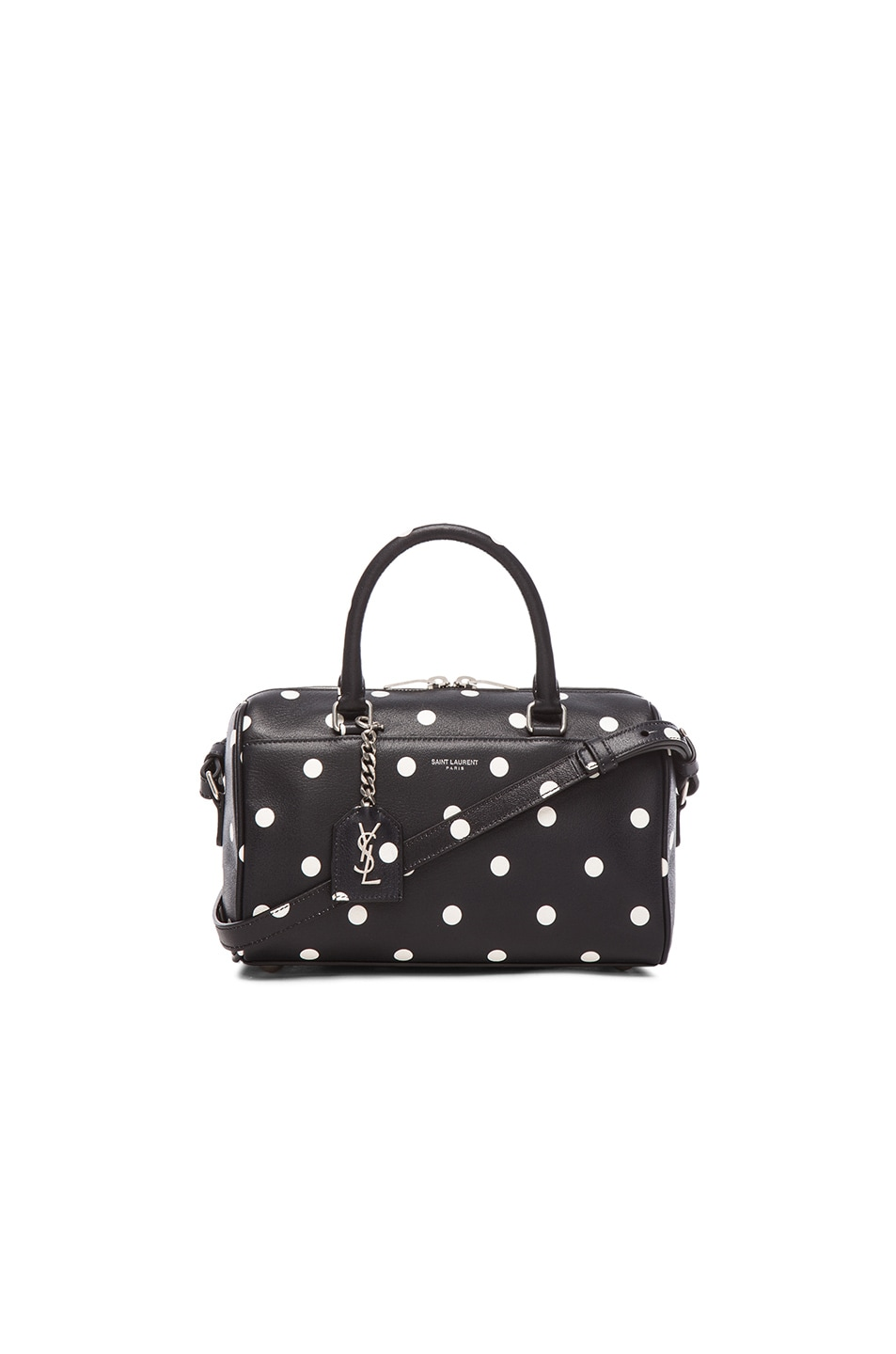 Image 1 of Saint Laurent Baby Polka Dot Print Duffle in Black & White