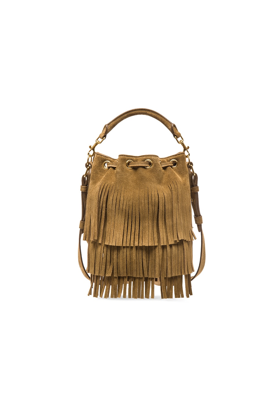 a0ebb3e073 Image 2 of Saint Laurent Small Suede Emmanuelle Fringe Bucket Bag in Khaki