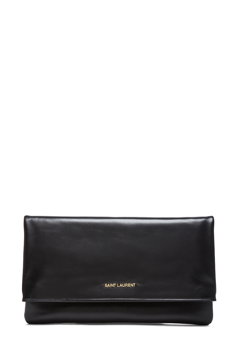 Image 1 of Saint Laurent Large Letters Foldover Clutch in Black