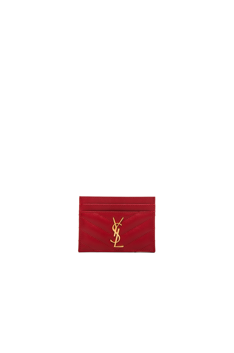 Image 1 of Saint Laurent Monogram Credit Card Case in New Red