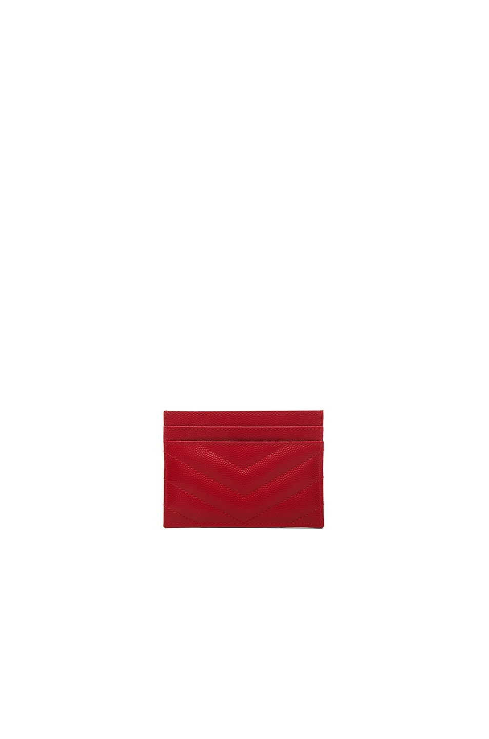 Image 2 of Saint Laurent Monogram Credit Card Case in New Red