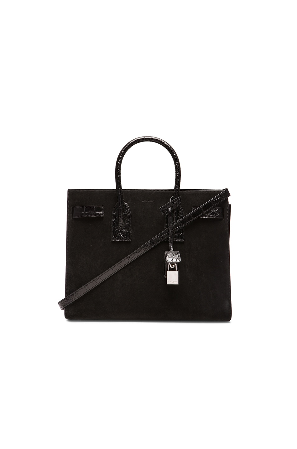 Image 1 of Saint Laurent Small Suede & Croc Embossed Sac De Jour in Black