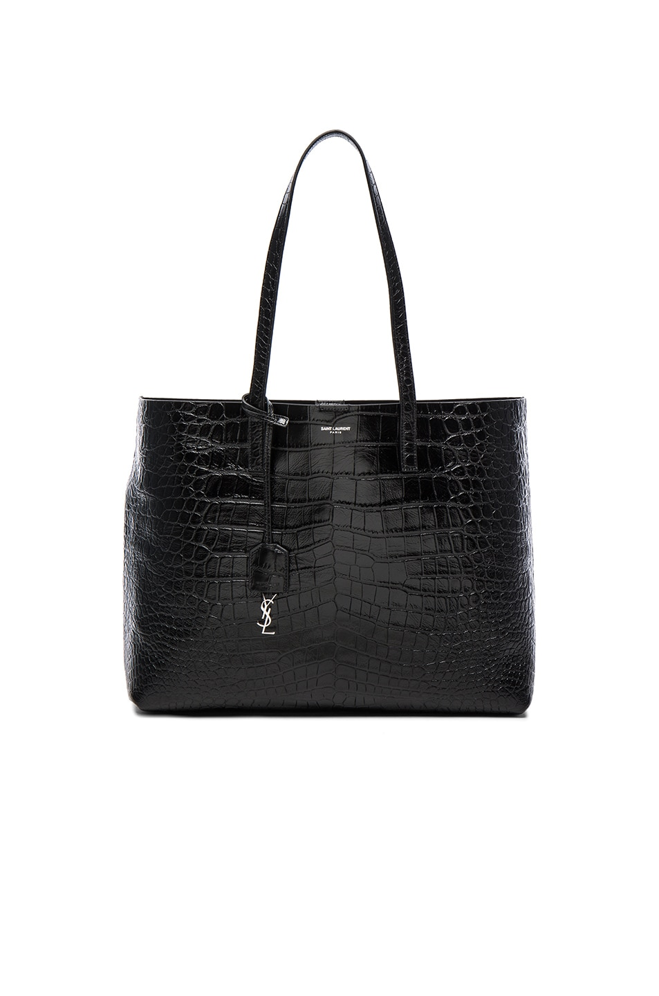 Image 1 of Saint Laurent Large Croc Embossed East West Shopping Bag in Black