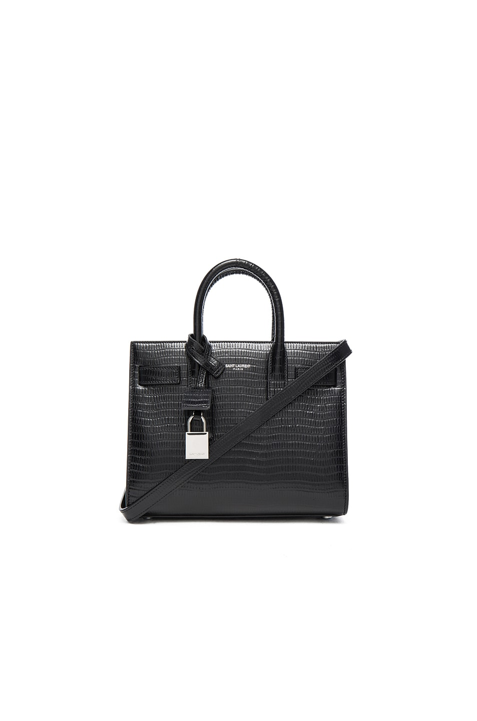 Image 1 of Saint Laurent Nano Lizard Effect Sac De Jour in Black