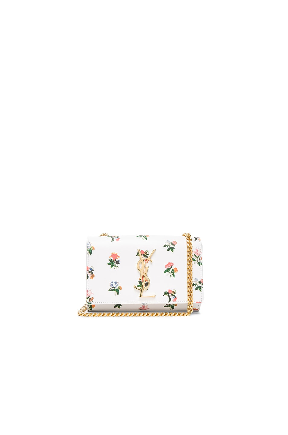 Image 1 of Saint Laurent Small Grunge Flower Monogramme Chain Bag in White & Multi