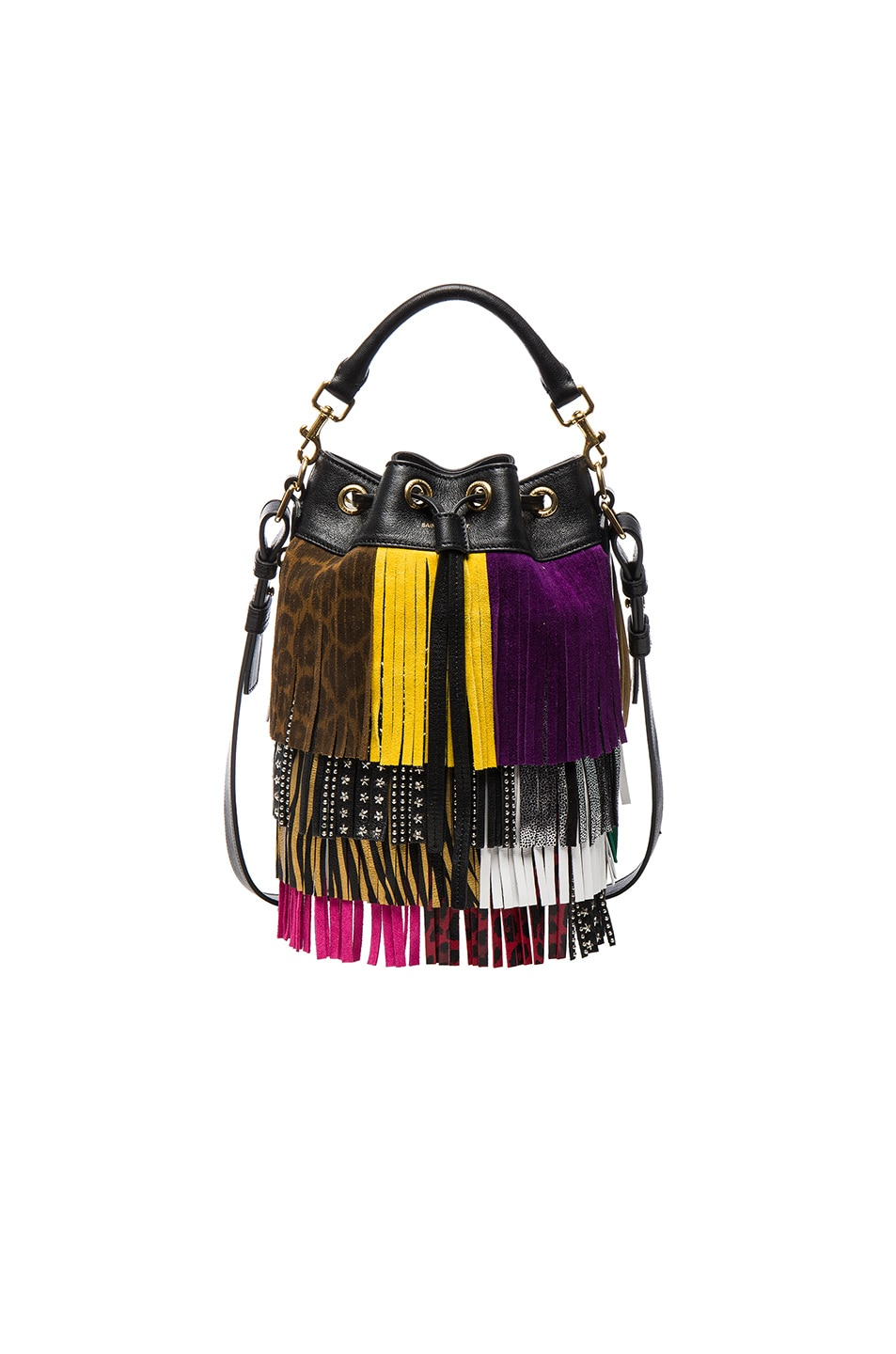 Image 1 of Saint Laurent Small Monster Fringe Emmanuelle Bucket Bag in Black & Multi