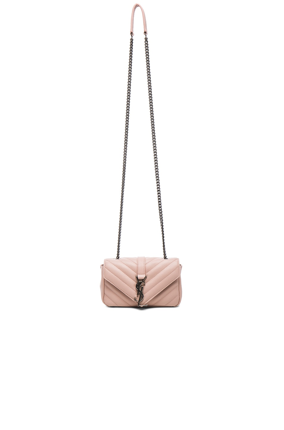 63af70f9e05 Image 1 of Saint Laurent Baby Monogramme Quilted Chain Bag in Pale Blush