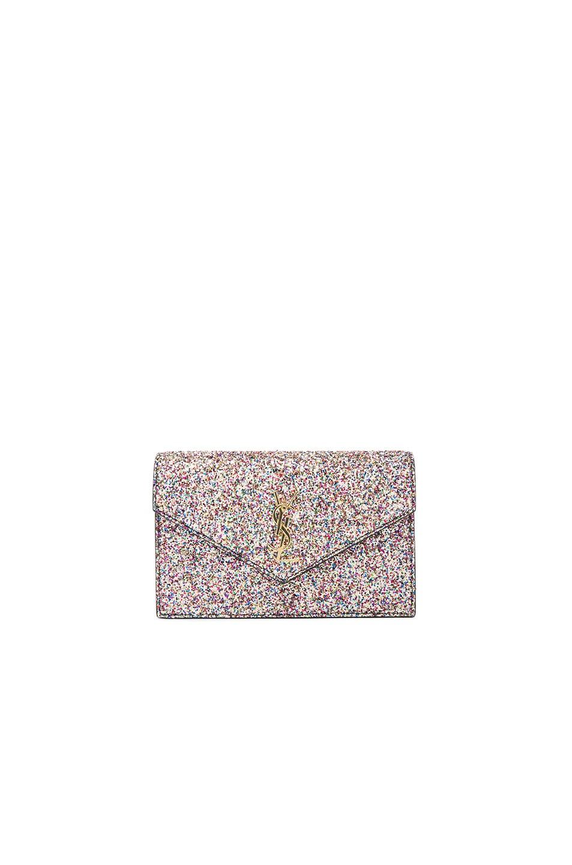 Image 1 of Saint Laurent Monogramme Glitter Envelope Chain Wallet in Multi & Black