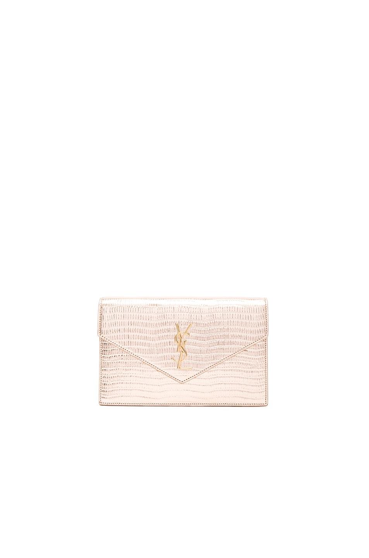 247878309ecb Image 1 of Saint Laurent Monogramme Mock Lizard Envelope Chain Wallet in Pale  Gold   Black