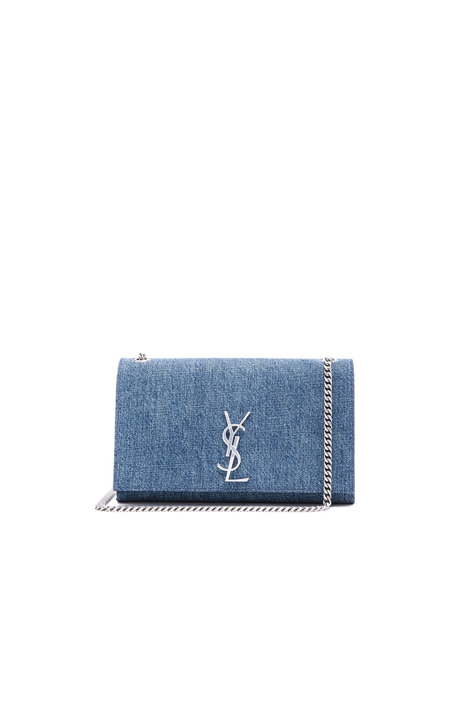 Image 1 of Saint Laurent Medium Denim Monogramme Chain Bag in Dirty Light Blue & Black