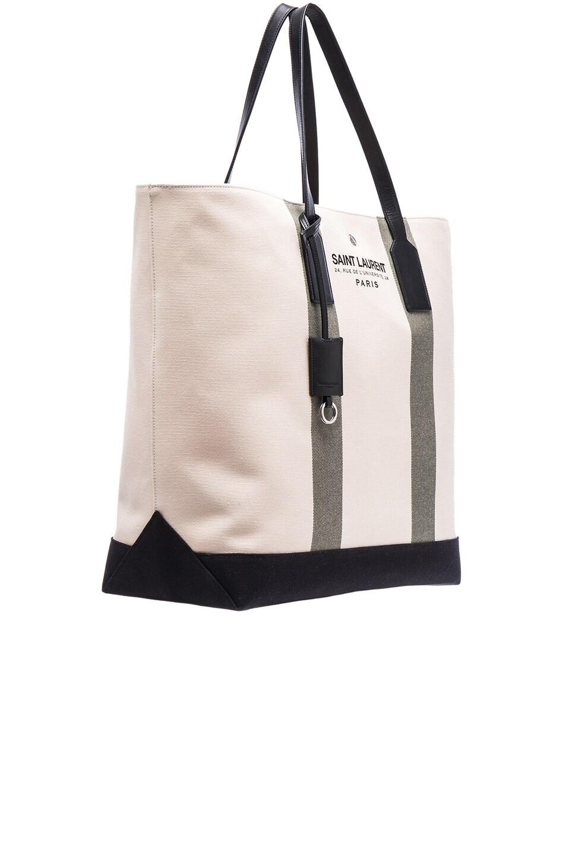 Saint Laurent Beach Shopping Bag in Beige & Khaki   FWRD