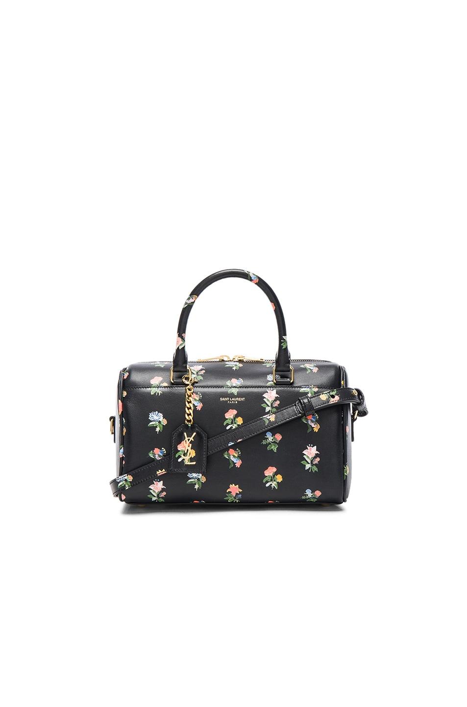 Image 1 of Saint Laurent Baby Grunge Flower Print Duffle Bag in Black & Multi