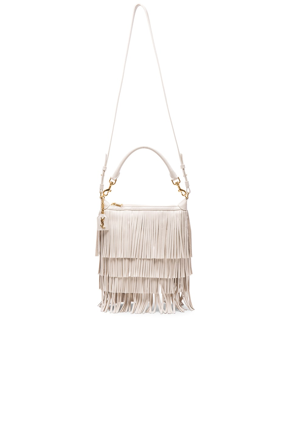 90a91961ad3 Image 6 of Saint Laurent Small Fringe Emmanuelle Hobo Bag in Porcelain