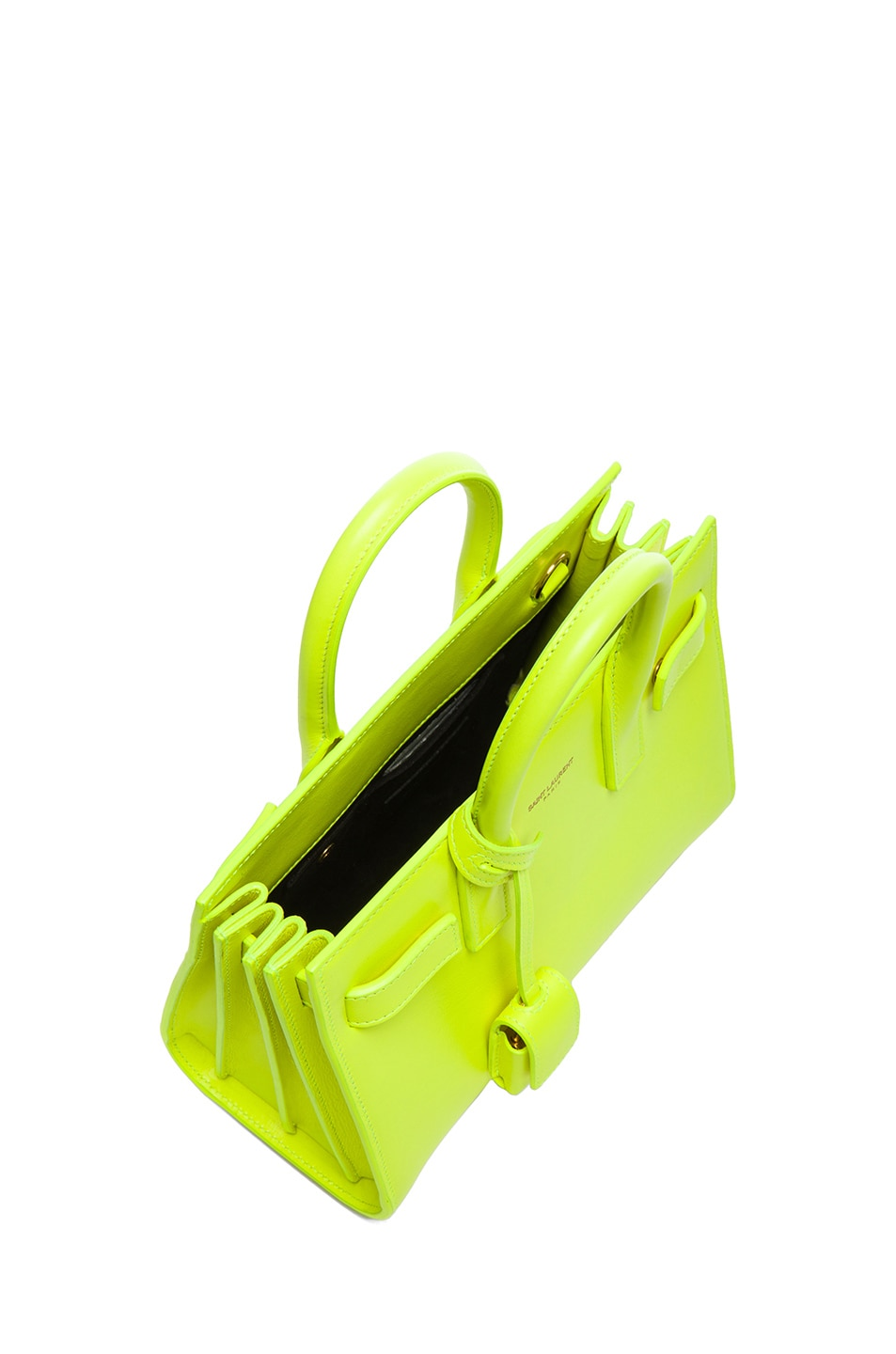 Image 4 of Saint Laurent Baby Sac De Jour Carryall Bag in Neon Yellow