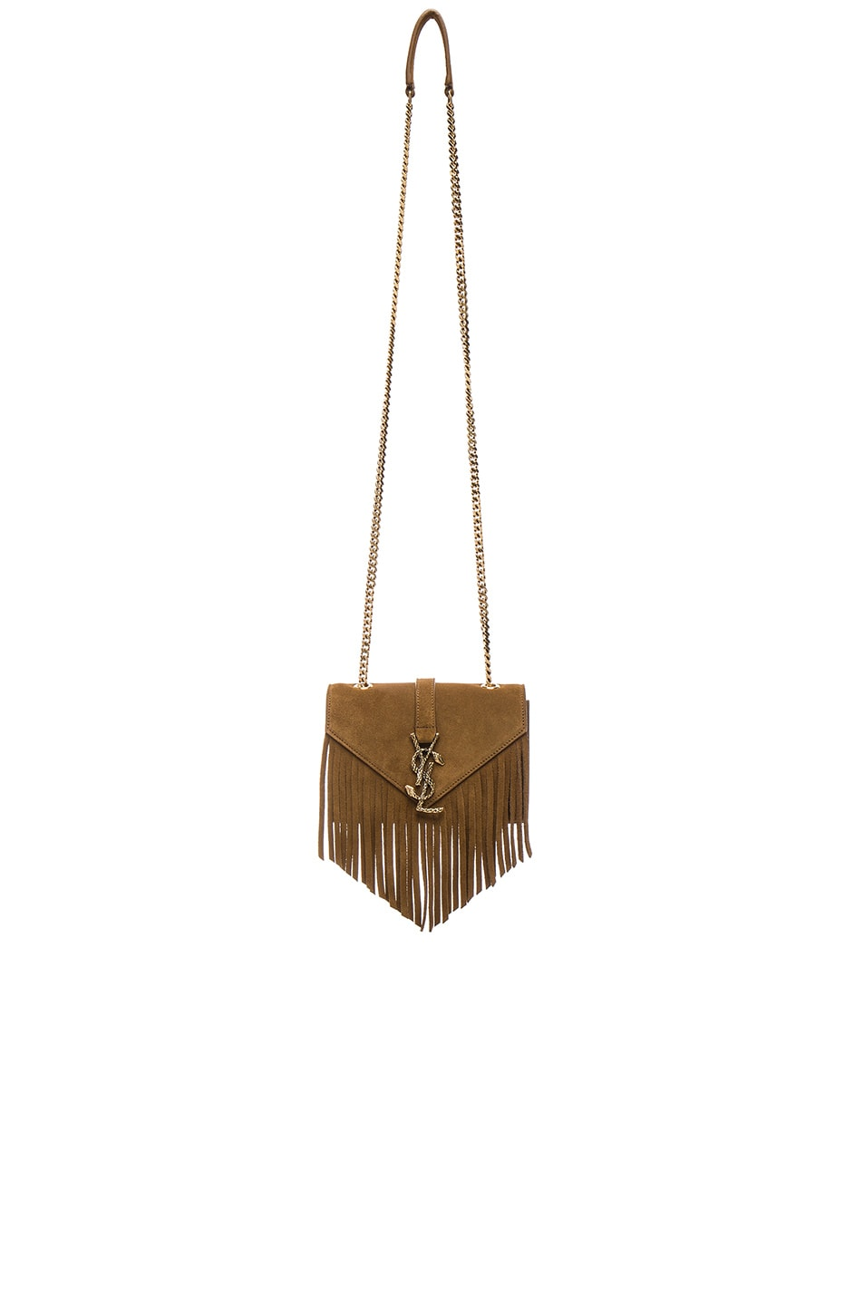 Image 1 of Saint Laurent Small Suede Serpent Chain Bag in Light Ocre