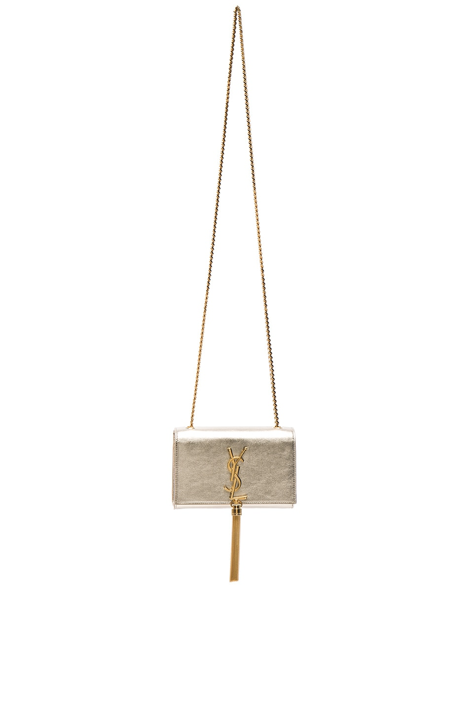 Image 1 of Saint Laurent Small Monogramme Tassel Chain Bag in Pale Gold