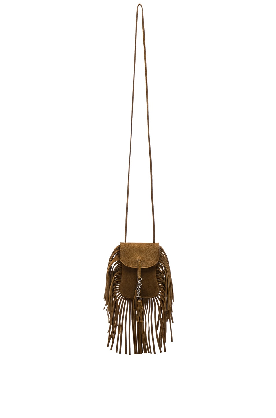 bdc1c4dc98 Image 1 of Saint Laurent Toy Anita Suede   Fringe Bag in Light Ocre