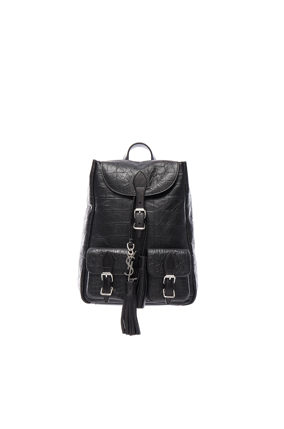 Image 1 of Saint Laurent Small Croc Embossed Festival Backpack in Black