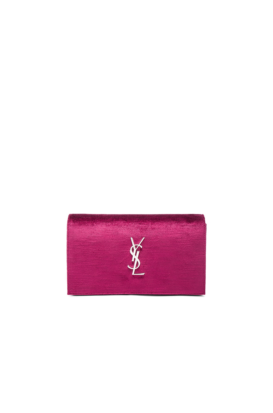Image 1 of Saint Laurent Monogram Textured Velour Chain Wallet in Black & Rose Wine