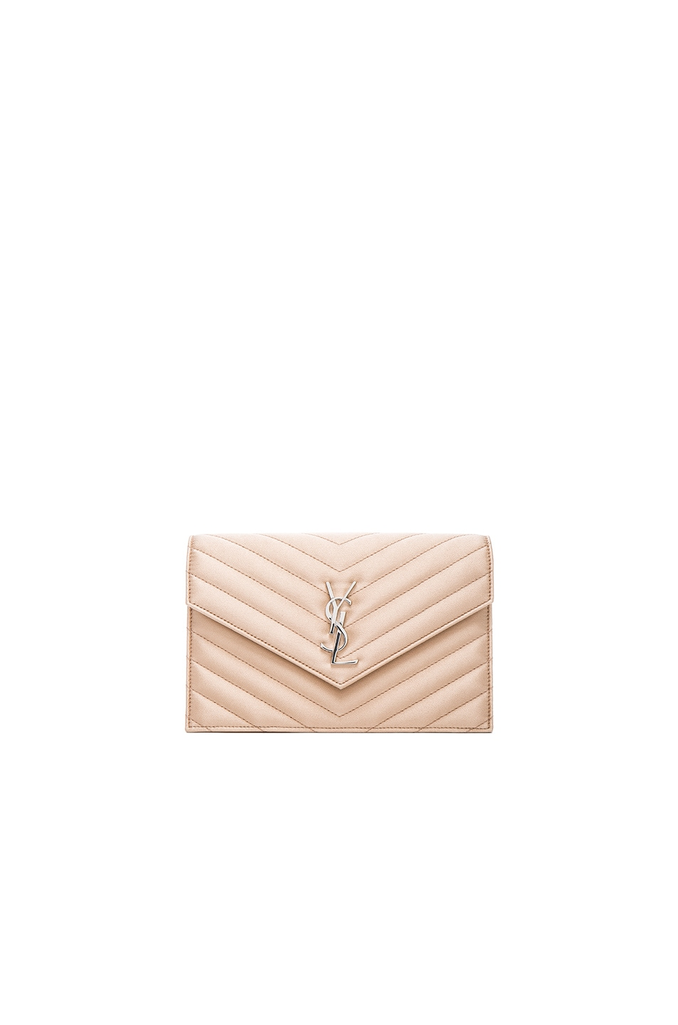 b680fbb329c Image 1 of Saint Laurent Monogram Quilted Satin Envelope Chain Wallet in  Black & Nude