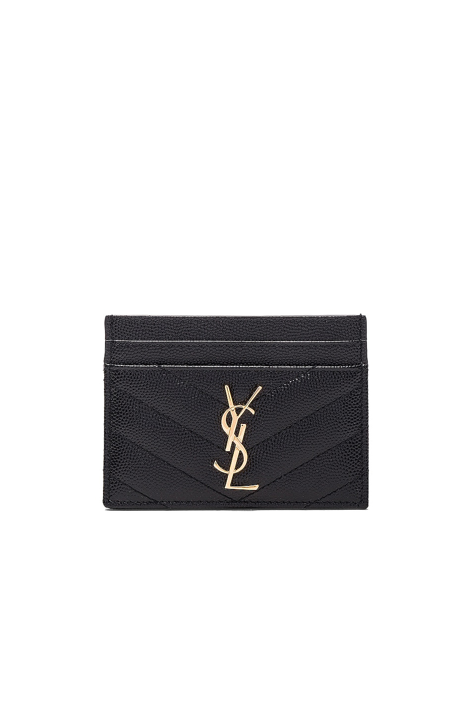 Image 1 of Saint Laurent Monogramme Quilted Credit Card Case in Black & Gold