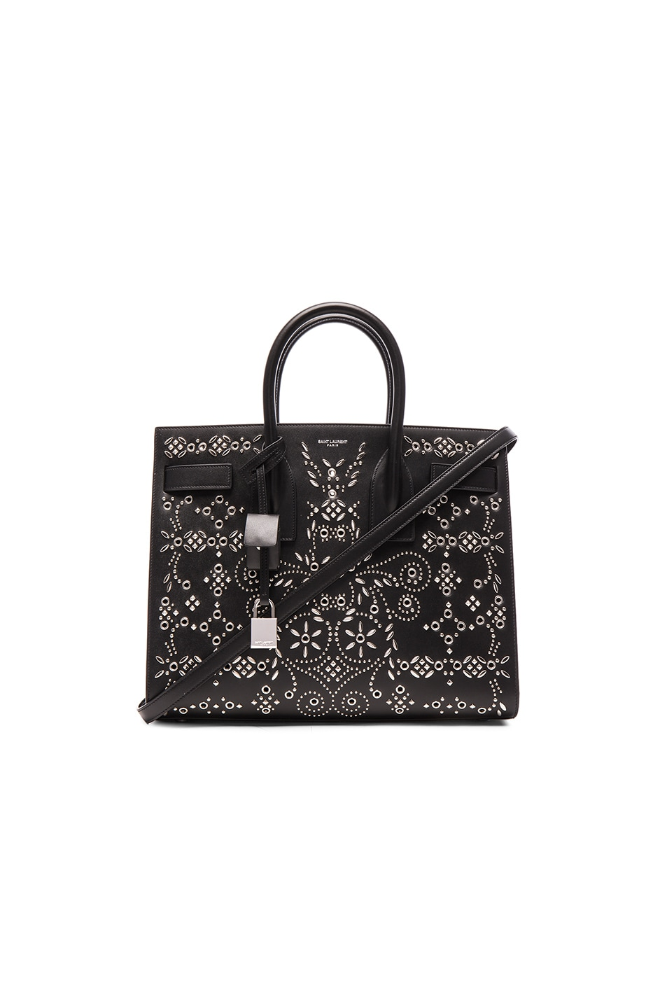 31db19ba14 Image 1 of Saint Laurent Small Bandana Embroidery Sac De Jour in Black