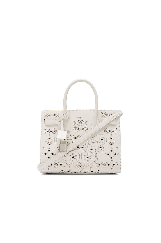 Image 1 of Saint Laurent Baby Bandana Embroidery Sac De Jour Bag in White