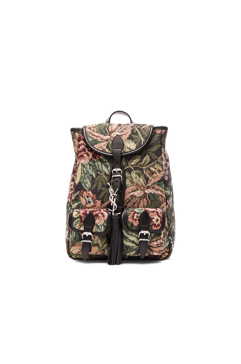 Image 1 of Saint Laurent Small Floral Tapestry Festival Backpack in Black & Multi