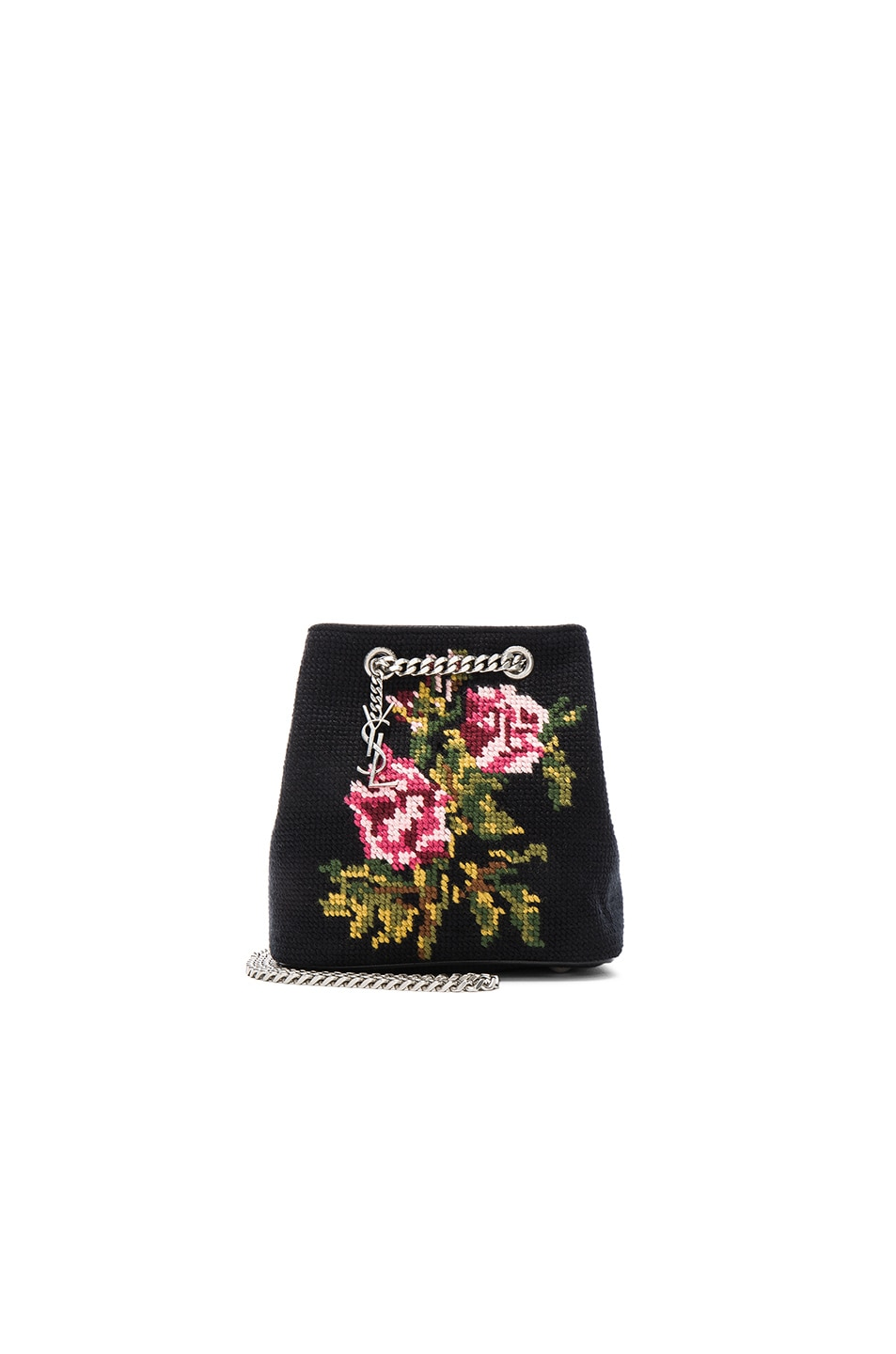 Image 1 of Saint Laurent Baby Floral Embroidery Emmanuelle Bucket Bag in Black & Multi