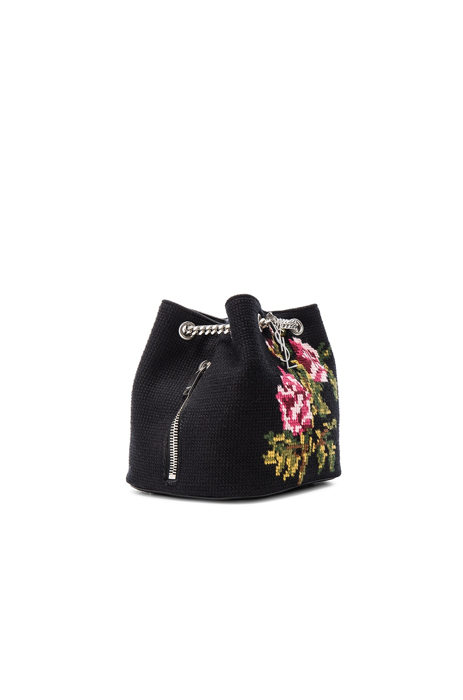 Image 4 of Saint Laurent Baby Floral Embroidery Emmanuelle Bucket Bag in  Black   Multi 5a6877ade35d6
