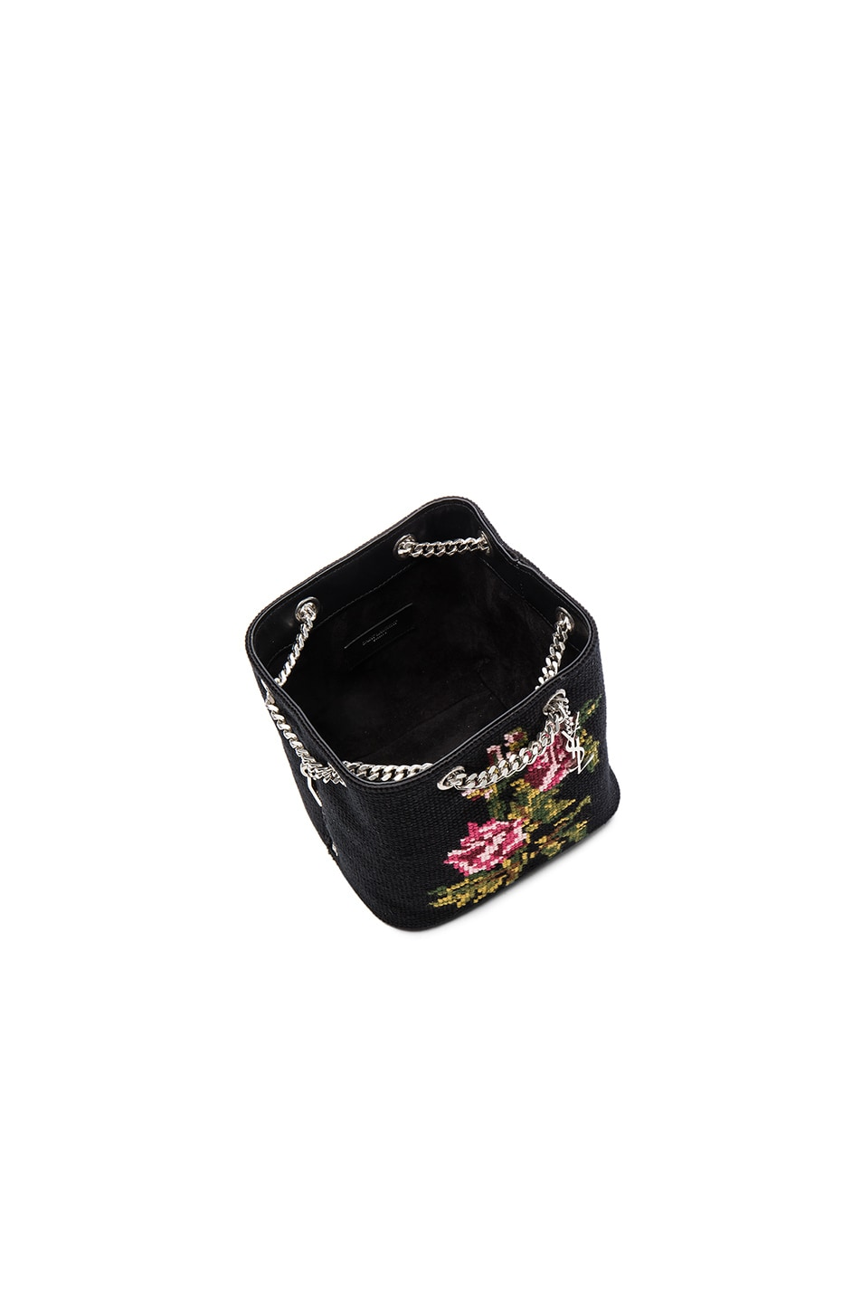Image 5 of Saint Laurent Baby Floral Embroidery Emmanuelle Bucket Bag in  Black   Multi 3442d26558fab