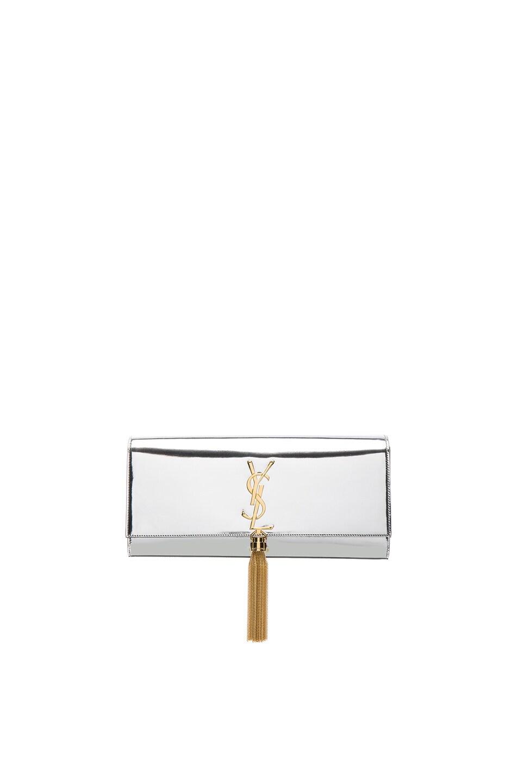Image 1 of Saint Laurent Mirror Monogram Clutch with Tassel in Platinum