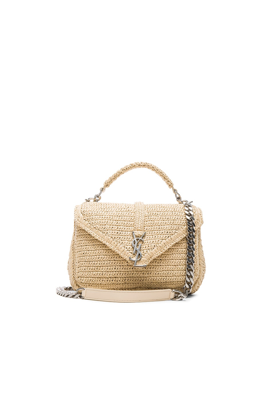 Image 1 of Saint Laurent Medium Raffia Monogram College Bag in Natural