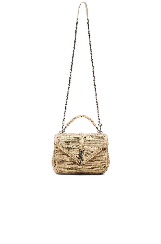 Image 6 of Saint Laurent Medium Raffia Monogram College Bag in Natural