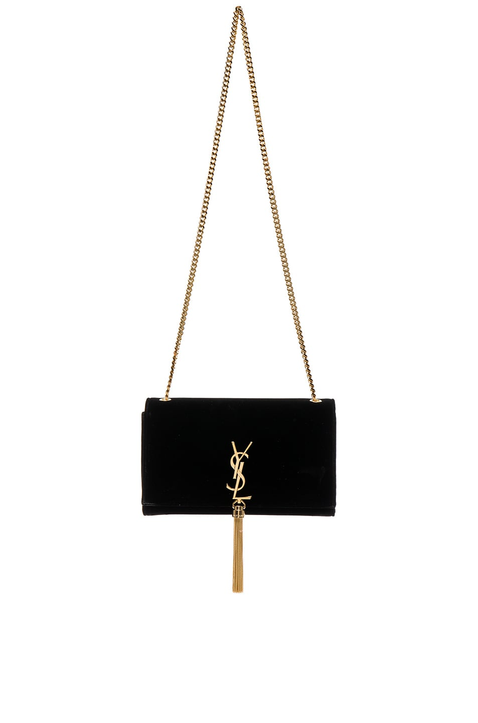 Image 1 of Saint Laurent Velvet Monogram Chain Bag in Black