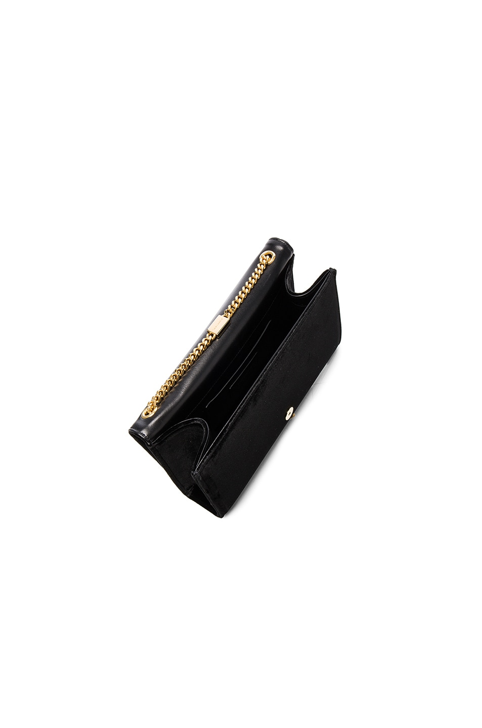 Image 5 of Saint Laurent Velvet Monogram Chain Bag in Black