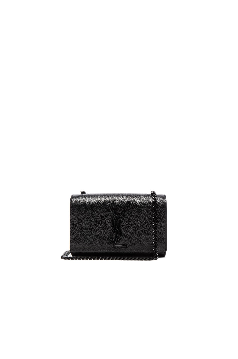 Image 1 of Saint Laurent Small Leather Monogramme Kate Chain Bag in Black & Black