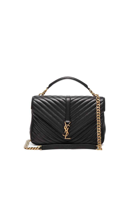 Image 1 of Saint Laurent Large Monogramme College Bag in Black