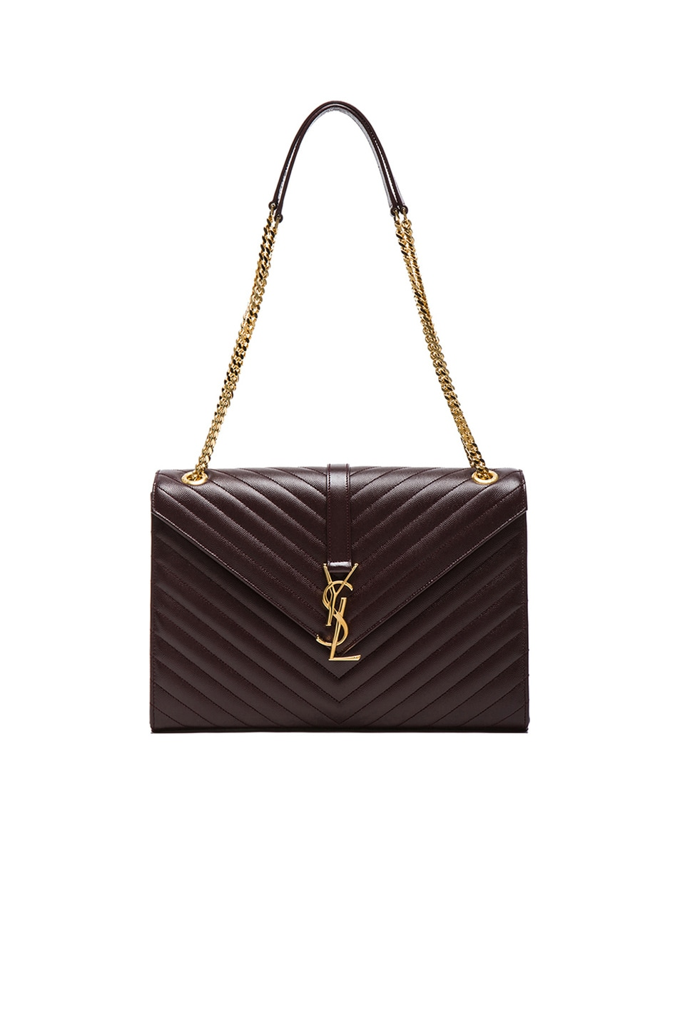 Image 1 of Saint Laurent Large Monogramme Envelope Chain Bag in Bordeaux