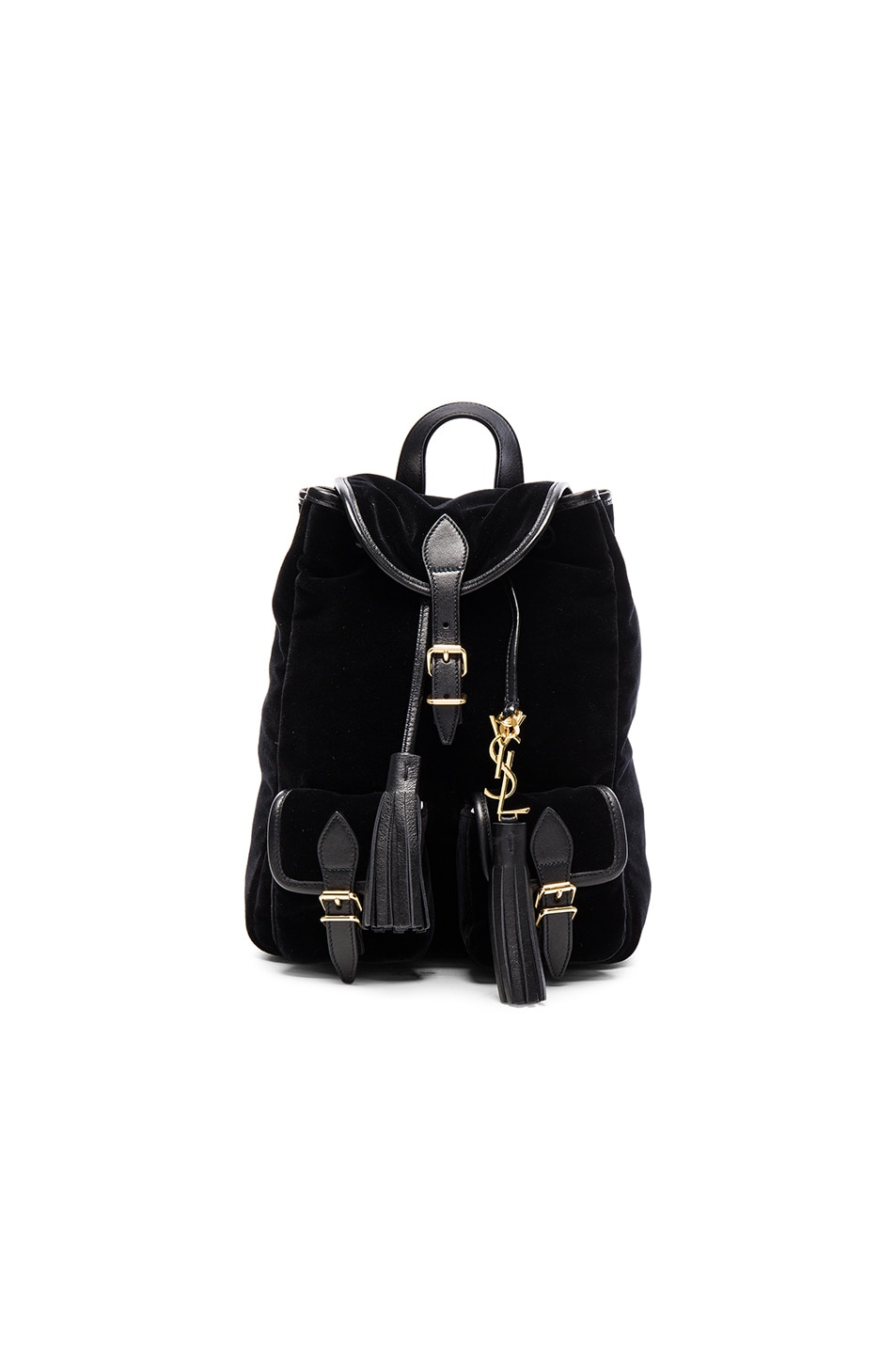 Image 1 of Saint Laurent Velvet Festival Backpack in Black
