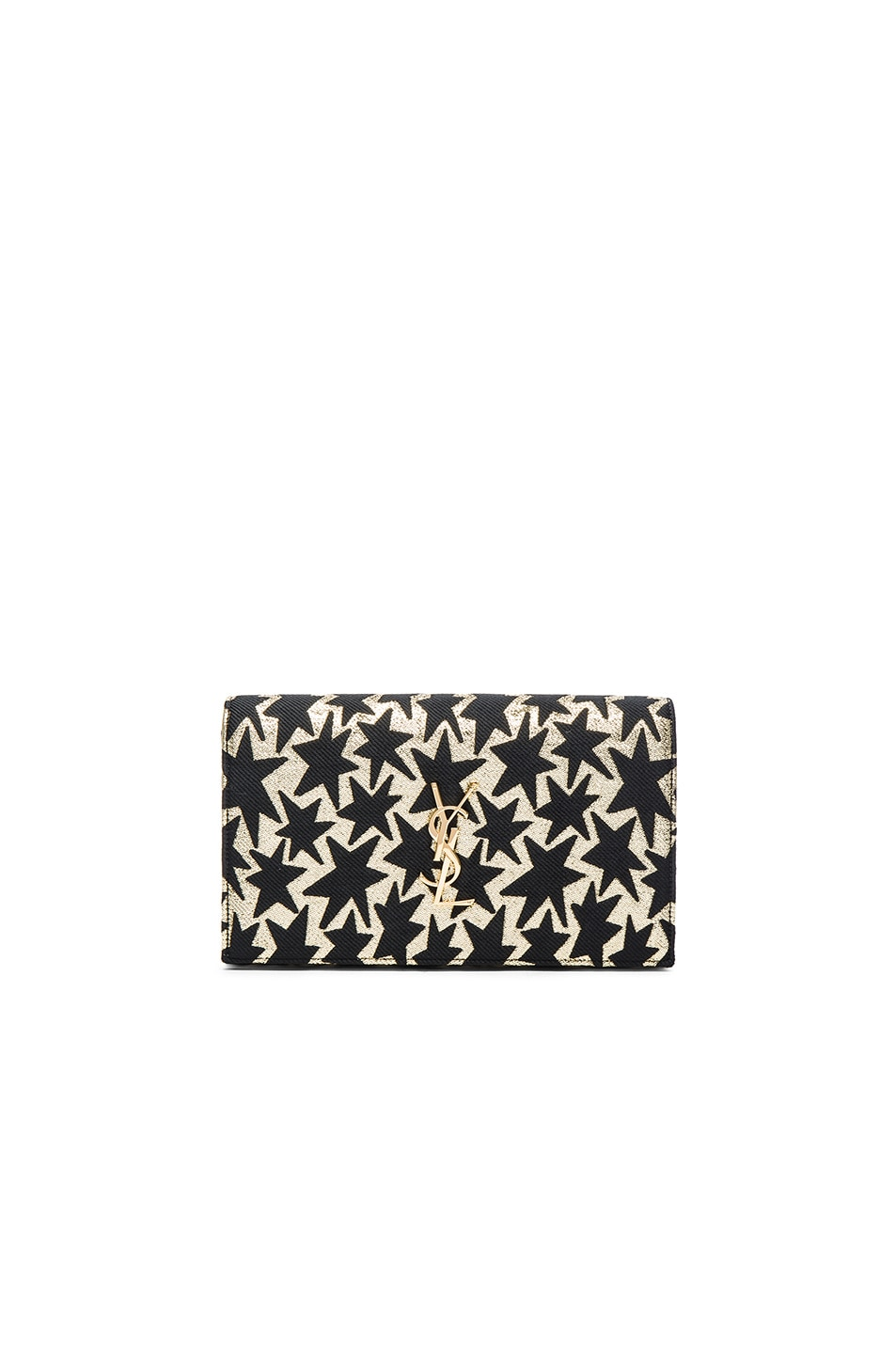Image 1 of Saint Laurent Lurex Monogramme Chain Wallet in Black & Gold