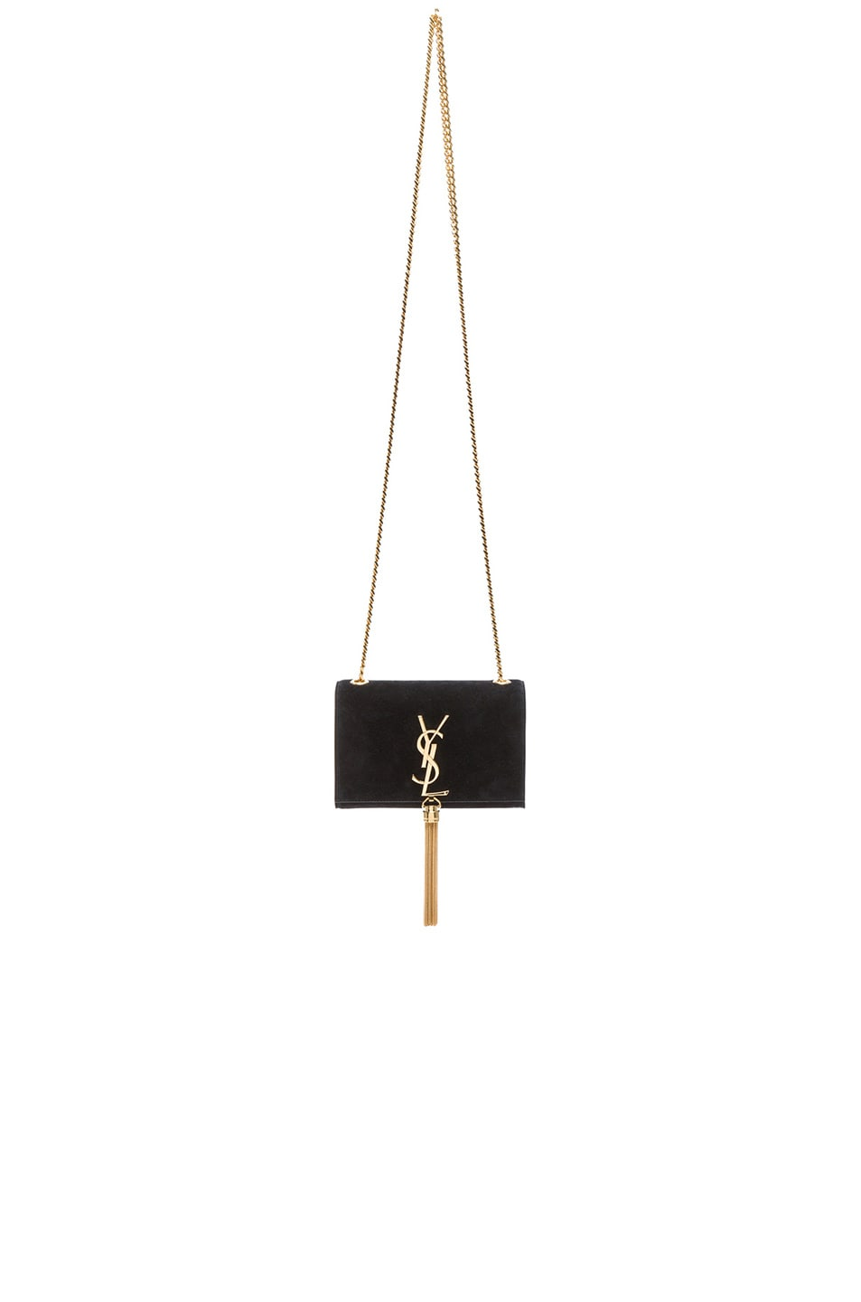 Image 1 of Saint Laurent Small Monogramme Suede Chain Tassel Bag in Black Suede