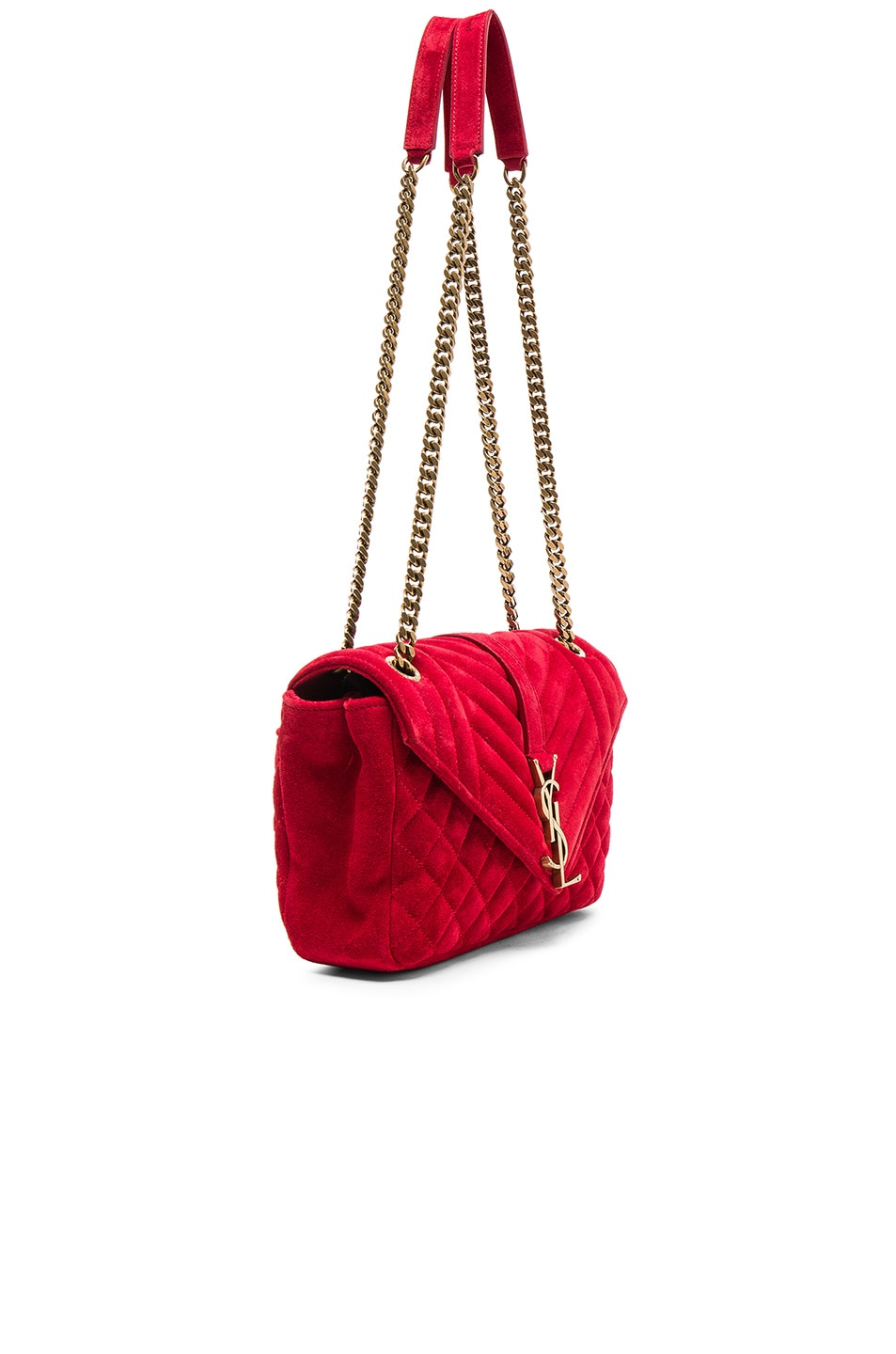 Image 3 of Saint Laurent Medium Monogram Slouchy Suede Chain Bag in Red 7c7c5f48800d9