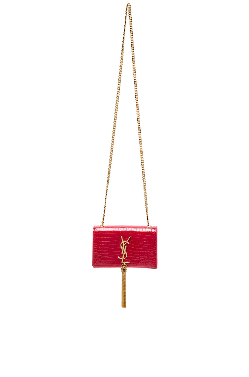 Image 1 of Saint Laurent Small Monogramme Croc Embossed Bag in Red