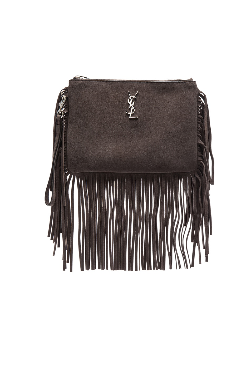 Image 1 of Saint Laurent Monogramme Fringe Pouch in Coal